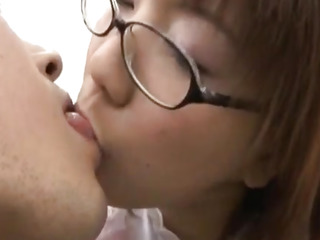 Akane Fujimoto maid with specs sucks cock coupled with gets doggy disclose