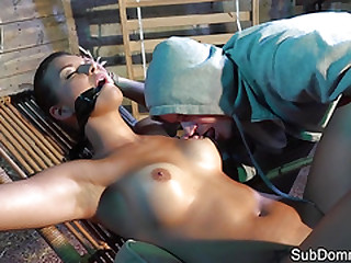 BDSM subject punished back sex machine by dom