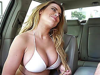 Super hot chick Corinna gets banged up the motor car by the hunk guy