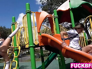 Teen best friends need far-out onlyfans content and go to a playground