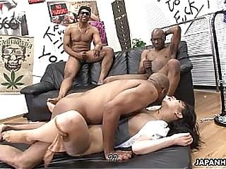 Three nefarious ragtag liquidate the Asian sluts pussy